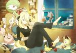 barefoot bed blonde_hair book brown_eyes brown_hair cattleya_(pokemon) cherish_ball chimecho feet gardevoir green_eyes hair_ornament hair_over_one_eye highres jigglypuff lampent long_hair luxury_ball lying meowth multiple_girls munna night night_sky nintendo ocean pichu poke_ball pokemon pokemon_(game) pokemon_bw pokemon_bw2 reading riolu shirona_(pokemon) sky smile souji window