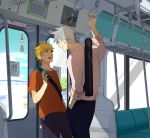 blonde_hair blue_eyes casual contemporary hatake_kakashi i_(kaiyou) male multiple_boys naruto scar short_hair silver_hair smile train uzumaki_naruto