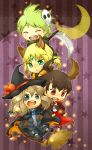 ahoge animal_ears blonde_hair blue_eyes broom brown_hair closed_eyes crescent emerald_(pokemon) green_eyes hat mitsuru_(pokemon) moon odamaki_sapphire open_mouth pokemon pokemon_(game) pokemon_rse pokemon_special red_eyes ruby_(pokemon) scythe star sweatdrop witch_hat
