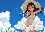 ;d apon arms_up black_hair blue_eyes cloud clouds collarbone dress grass hand_on_hat hat long_hair looking_at_viewer open_mouth original sky smile solo sun_hat sundress sunlight white_dress wind wink