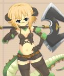 1girl absurdres axe bandaid black_legwear blonde_hair elbow_gloves elbow_pads gloves green_eyes highres horns jormungandr_(zettai_bouei_leviathan) monster_girl navel scales short_hair short_shorts shorts solo tail thigh-highs weapon zettai_bouei_leviathan zettai_ryouiki