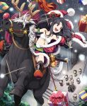 6+girls :d antlers armor black_hair box cape character_request christmas copyright_request flat_chest gift gift_box gourd hat horse horseback_riding japanese_clothes katana kiseru lena_(zoal) long_hair mole multiple_girls navel official_art open_mouth panties payot pipe polearm ponytail red_eyes santa_hat sarashi sengoku_saga smile snow spear sword underwear weapon