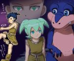 big blue_hair dinosaur fei_rune green_eyes green_hair inazuma_eleven_(series) inazuma_eleven_go inazuma_eleven_go_chrono_stone male mizuhara_aki multiple_boys rei_ruku smile translation_request tsurugi_kyousuke yellow_eyes