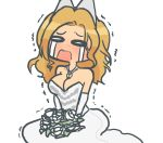 android_(os) bare_shoulders blonde_hair blue_eyes bouquet breasts chibi cleavage crying drawfag dress flower freckles hair_ornament hair_ornaments hana_no_android_gakuen jewelry kevlar mikan_(artist) motoki_rola motorola necklace open_mouth personification sad solo tears wedding_dress
