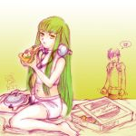 1boy 1girl anger_vein barefoot boyshorts c.c. cd_player code_geass eating food green_hair halter_top halterneck headphones lelouch_lamperouge long_hair midriff miyuki_mouse navel pizza pizza_box sitting underwear underwear_only wariza yellow_eyes