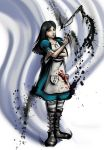 alice:_madness_returns alice_(wonderland) apron artist_name black_hair blood boots drawfag green_eyes highres jewelry knife long_hair mario_grant necklace omega_symbol pantyhose parody signature solo street_fighter street_fighter_iv striped striped_legwear style_parody