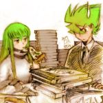 1boy 1girl c.c. choujin_locke choujin_locke_(character) code_geass crossover eating food green_eyes hair_over_one_eye long_hair miyuki_mouse pizza pizza_box spiked_hair spiky_hair yellow_eyes