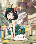 :o ahoge asymmetrical_legwear basket black_hair blue_eyes blush christmas christmas_tree envelope gift hair_ornament halo lena_(zoal) pantyhose rug scissors shingeki_no_bahamut short_hair sitting solo table vertical-striped_legwear vertical_stripes wariza window wings