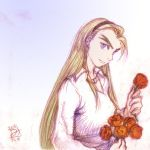 1girl blonde_hair blue_eyes casual dorothy_catalonia eyebrows flower gundam gundam_wing hairband long_hair miyuki_mouse solo very_long_hair