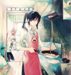 2boys :d ^_^ apron arm_up bag black_hair blue_eyes blue_hair blush chopsticks closed_eyes cooking eyes_closed fried_egg frying_pan holding isana_yashiro k_(anime) kitchen kneeling long_hair maico_(a218) multiple_boys neko_(k) open_mouth pink_hair plate ponytail ribbon shirt smile white_shirt yatogami_kurou