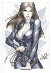 belt blue_eyes bodysuit breasts brown_hair cleavage danger_girl leather long_hair marker_(medium) muted_color signature solo stanley_lau sydney_savage traditional_media whip zipper
