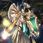 arm_cannon armor black_hair black_legwear black_wings bow breasts cape cosplay ear_protection feathers greaves hair_bow hannah_santos highres league_of_legends leona_(league_of_legends) leona_(league_of_legends)_(cosplay) long_hair mismatched_footwear pauldrons radiation_symbol red_eyes reiuji_utsuho shield signature solo sword tabard thigh-highs thighhighs third_eye touhou weapon wings