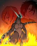1boy 1girl chilling epic flames glowing_eyes godzilla godzilla_(series) smirk