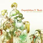 5boys black_hair blonde_hair blue_eyes bouquet braid brown_hair chang_wufei congratulations duo_maxwell flower gundam gundam_wing heero_yui heero_yuy miyuki_mouse multiple_boys necktie polo_shirt quatre_raberba_winner relena_peacecraft shirt short_hair single_braid spiked_hair spiky_hair trowa_barton