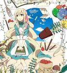 apple balloon blonde_hair book cake cream food food_on_face fork fruit highres kagerou_project leaf long_hair mary_(kagerou_project) mushroom pen plant pocky sinomi sky souzou_forest_(vocaloid) strawberry vase vocaloid