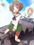 :d akiyama_yukari arm_up black_hair blush brown_eyes brown_hair flying_sweatdrops girls_und_panzer military military_vehicle multiple_girls nishizumi_miho open_mouth school_uniform serafuku short_hair skirt smile straddle sweatdrop tank umeboshitora vehicle
