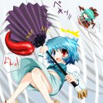aqua_hair blue_eyes blue_hair blush bow closed_eyes eyes_closed flying frills front_ponytail hair_bow hair_ornament hair_ribbon heterochromia inyucchi juliet_sleeves kagiyama_hina karakasa_obake long_hair long_sleeves multiple_girls open_mouth puffy_sleeves red_eyes ribbon short_hair skirt spinning tatara_kogasa tongue touhou umbrella