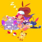 baseball_cap big_hair brown_hair cat closed_eyes eyes_closed flat_color glameow hat high_ponytail meowth mintchoco_(deviantart) poke_ball pokemon pokemon_(game) pokemon_bw purrloin purugly short_shorts shorts skitty sleeping sneasel tail too_many_cats touko_(pokemon) vest yellow_background z