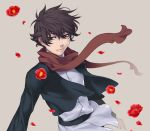 banbuji black_hair flower gundam gundam_00 red_eyes scarf setsuna_f_seiei short_hair solo