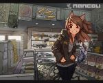 animal_ears artist_name brown_eyes brown_hair cobblestone fake_animal_ears grin gun jacket jecket letterboxed long_hair nancou_(nankou) original poster poster_(object) shell_casing shop sign smile solo tail usb weapon window