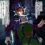 brown_hair electricity hammer hat jojo_no_kimyou_na_bouken luigi multiple_boys nintendo overalls punching super_mario_bros. translation_request waluigi yimurakageyuki
