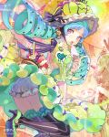 blue_hair bow cocorip dress drill_hair food fruit hat hat_bow heart high_heels holding ice_cream ice_cream_cone leg_up littlevein89 long_hair looking_at_viewer open_mouth purple_eyes shoes solo strawberry tenkuu_no_crystalia thigh-highs thighhighs tongue tongue_out twin_drills vertical-striped_legwear vertical_stripes violet_eyes