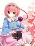 blush bug bug_(artist) cat hairband heart highres kaenbyou_rin kaenbyou_rin_(cat) komeiji_satori looking_at_viewer neko pink_eyes pink_hair short_hair skirt sleeping solo third_eye touhou