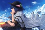 alternate_hair_length alternate_hairstyle blue_hair cape chin_rest cloud clouds food fruit hat highres hinanawi_tenshi orange_eyes peach rock shide shimenawa short_hair sky smile solo sword sword_of_hisou tatsuya_(atelier_road) touhou weapon