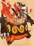 artist_request claws emboar fangs fire flames hat pokemon san_(pixiv1002893) touko_(pokemon)