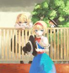 alice_margatroid apron blonde_hair blue_eyes blush bow braid capelet doll dress fence hair_bow hairband hat hat_removed headwear_removed hir0sun kirisame_marisa long_hair multiple_girls open_mouth ribbon shanghai shanghai_doll short_hair skirt smile touhou witch_hat yellow_eyes