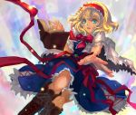 alice_margatroid blonde_hair blue_dress blue_eyes book boots bowtie capelet cross-laced_footwear dress floating_object hairband knees koumajou_densetsu koumajou_densetsu_2 lace-up_boots open_book outstretched_hand paddybird3 parted_lips ribbon short_hair solo touhou