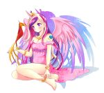 anklet bare_legs bare_shoulders barefoot bird bracelet dress feathered_wings full_body heart horn jewelry long_hair multicolored_hair my_little_pony my_little_pony_friendship_is_magic personification philomena phoenix pink_dress princess_mi_amore_cadenza purple_eyes rurutia8 shadow sitting tattoo tiara violet_eyes white_background wings
