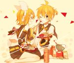 blonde_hair bow brown_eyes cake detached_sleeves doughnut egg feeding food fork grin hair_bow hair_ornament hairclip headphones heart heart_of_string icing kagamine_len kagamine_rin milk_carton pastry plate sailor_collar sannmiryou scale short_hair shorts sitting smile vocaloid wariza