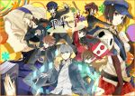 6+girls amagi_yukiko azusa_(sarie303030) bag belt black_hair blonde_hair blue_eyes blue_hair brown_eyes brown_hair card elbow_gloves fan fingerless_gloves gloves grey_eyes grey_hair hairband hanamura_yousuke hat headphones jacket jacket_on_shoulders kujikawa_rise kuma_(persona_4) long_hair margaret marie_(persona_4) multiple_boys multiple_girls narukami_yuu necktie paper_fan persona persona_4 persona_4_the_golden plaid plaid_skirt satonaka_chie scar school_uniform shirogane_naoto short_hair skirt tatsumi_kanji yellow_eyes