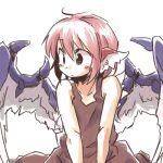 blush dress kemonomimi lowres mystia_lorelei pink_hair short_hair simple_background sketch solo touhou white_background wings yudepii yuderupii