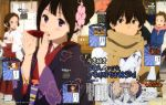 2boys 2girls absurdres alcohol alternate_hairstyle blush brown_eyes brown_hair chitanda_eru floral_print fukube_satoshi hair_up hakama haori highres hyouka ibara_mayaka jacket japanese_clothes jewelry kamoi_chise kimono magazine_scan miko multiple_boys multiple_girls obi official_art omamori omikuji oreki_houtarou page_number plum_blossoms purple_eyes sakazuki sake scan scarf shrine tray yukata