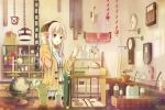 1girl :o basket belt blonde_hair blush book bookshelf bottle bow bowtie box bucket cat chain chains clock cork cup flower flower_pot gears globe highres jar jewelry leaf long_hair necklace open_mouth original pendant pot purple_eyes shelf shop solo tree tree-raim violet_eyes wood wristband