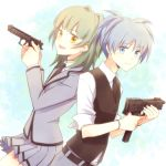 1girl aihara_kaya ansatsu_kyoushitsu assassination_classroom back-to-back beretta_92 blue_eyes blue_hair gun handgun kayano_kaede mac-10 pistol school_uniform shiota_nagisa submachine_gun trigger_discipline vest weapon yellow_eyes