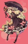 bunny_ears dress elbow_gloves gloves highres long_hair macco mayu_(vocaloid) piano_print rabbit_ears umbrella vocaloid