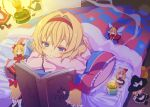 alice_margatroid black_legwear blonde_hair blue_eyes blush book candle character_doll fairy hairband highres hourai_doll kirisame_marisa kishiri_toworu lying on_stomach open_book pajamas pantyhose pillow reading shanghai_doll shnghai smile solo touhou under_covers