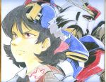 black_hair gundam parody red_eyes shameimaru_aya shikishi short_hair touhou traditional_media yudepii