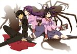 2girls absurdes absurdres ahoge araragi_koyomi bakemonogatari black_eyes black_hair black_legwear blue_eyes cape glasses hanekawa_tsubasa highres juliet_sleeves legs long_hair long_sleeves monogatari_(series) multiple_girls nekomonogatari official_art oshino_shinobu puffy_sleeves purple_eyes purple_hair school_uniform senjougahara_hitagi shadow short_hair smile socks spider thigh-highs thighhighs twintails very_long_hair violet_eyes watanabe_akio