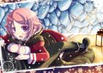 :d blush boots breast_press cloak kirito lantern lisbeth looking_at_viewer lying_on_person open_mouth pink_eyes pink_hair short_hair smile snowing solo sword_art_online tougo