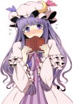 blush book breasts dress face hat long_hair patchouli_knowledge purple_eyes purple_hair revision ribbon sawade solo touhou violet_eyes