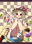 :o blonde_hair blush bow candy checkered checkered_background chocolate flandre_scarlet hat hat_bow highres kazura letter lollipop looking_at_viewer panties red_eyes scales sitting skirt slice_of_cake socks solo speech_bubble spoken_blush star swirl_lollipop table touhou underwear white_panties wings