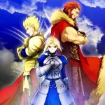 2boys ahoge armor armored_dress beard blonde_hair cape crossed_arms dress earrings facial_hair fate/zero fate_(series) gauntlets gilgamesh green_eyes hair_ribbon jewelry multiple_boys red_eyes red_hair redhead ribbon rider_(fate/zero) saber tgtgh