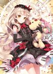 :> black_gloves bloomers blush bow dress elbow_gloves gloves holding long_hair looking_at_viewer mayu_(vocaloid) nardack petals piano_print silver_hair smile solo sparkle standing star stuffed_animal stuffed_bunny stuffed_toy vocaloid yellow_eyes