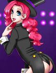 apzzang ass blue_eyes finger_to_mouth hat my_little_pony my_little_pony_friendship_is_magic nail_polish open_mouth personification pink_hair pinkie_pie solo top_hat