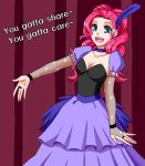 :d apzzang blue_eyes bridal_gauntlets choker dress english feathers fishnets long_hair my_little_pony my_little_pony_friendship_is_magic open_mouth outstretched_hand personification pink_hair pinkie_pie smile solo