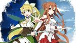 :d asuna_(sao) bare_shoulders belt blonde_hair bracelet braid breastplate breasts brown_eyes brown_hair buckle cleavage cloud clouds detached_sleeves elf eyecatch green_eyes highres jewelry leafa long_hair long_sleeves multiple_girls open_mouth outstretched_arms outstretched_hand pointy_ears ponytail puffy_sleeves screencap shorts skirt sky smile sword sword_art_online takenashi_eri twin_braids weapon